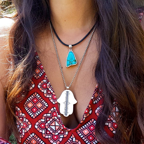 Natural Raw Turquoise Freeform Pendant