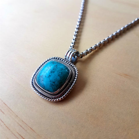 Cushion Cut Turquoise Artisan Pendant - Inspired Tribe Silver Jewellery