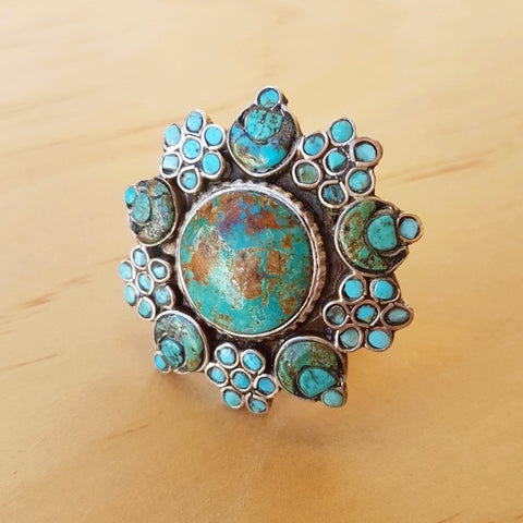 Tibetan Turquoise Inlay Ring - Inspired Tribe Silver Jewellery