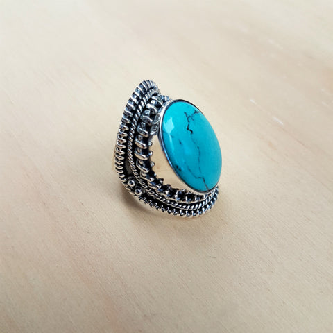 Turquoise Wire Collet Ring