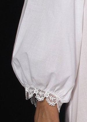 1205 Long sleeves nightshirt with lace yoke--- BACK IN STOCK !