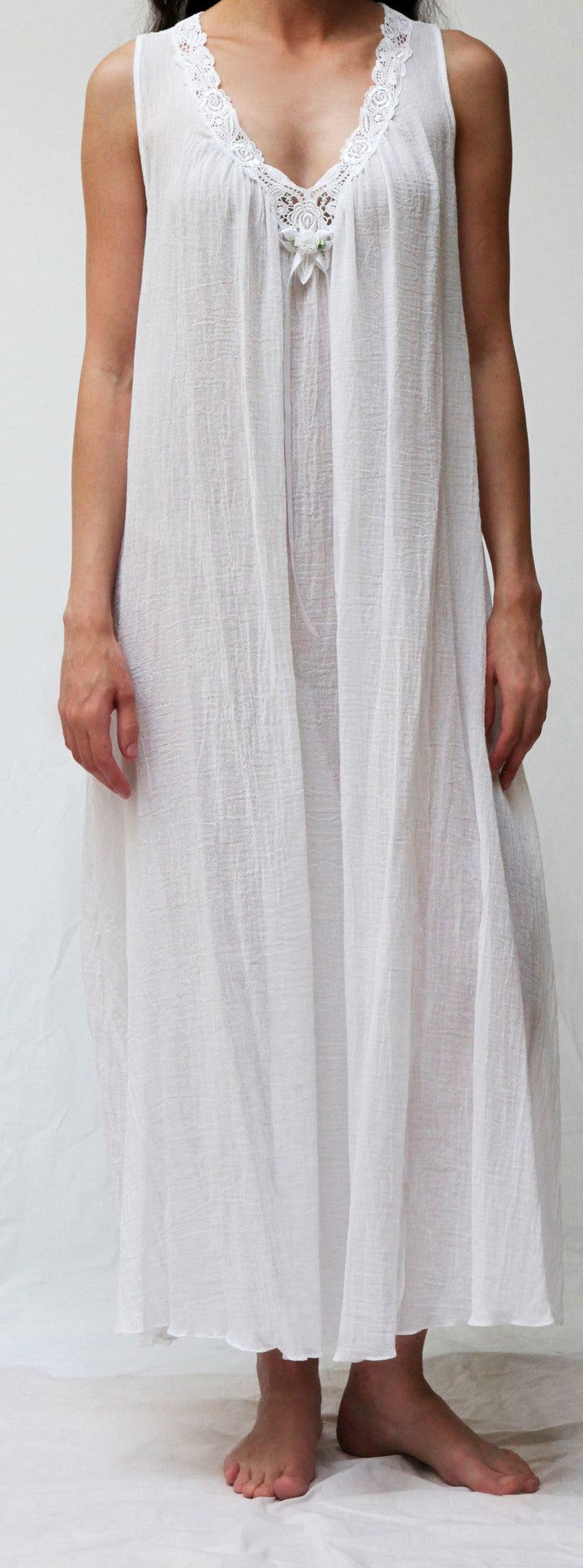 33664 Long sleeveless gown- WHITE GAUZE , AVAILABLE JULY 30TH