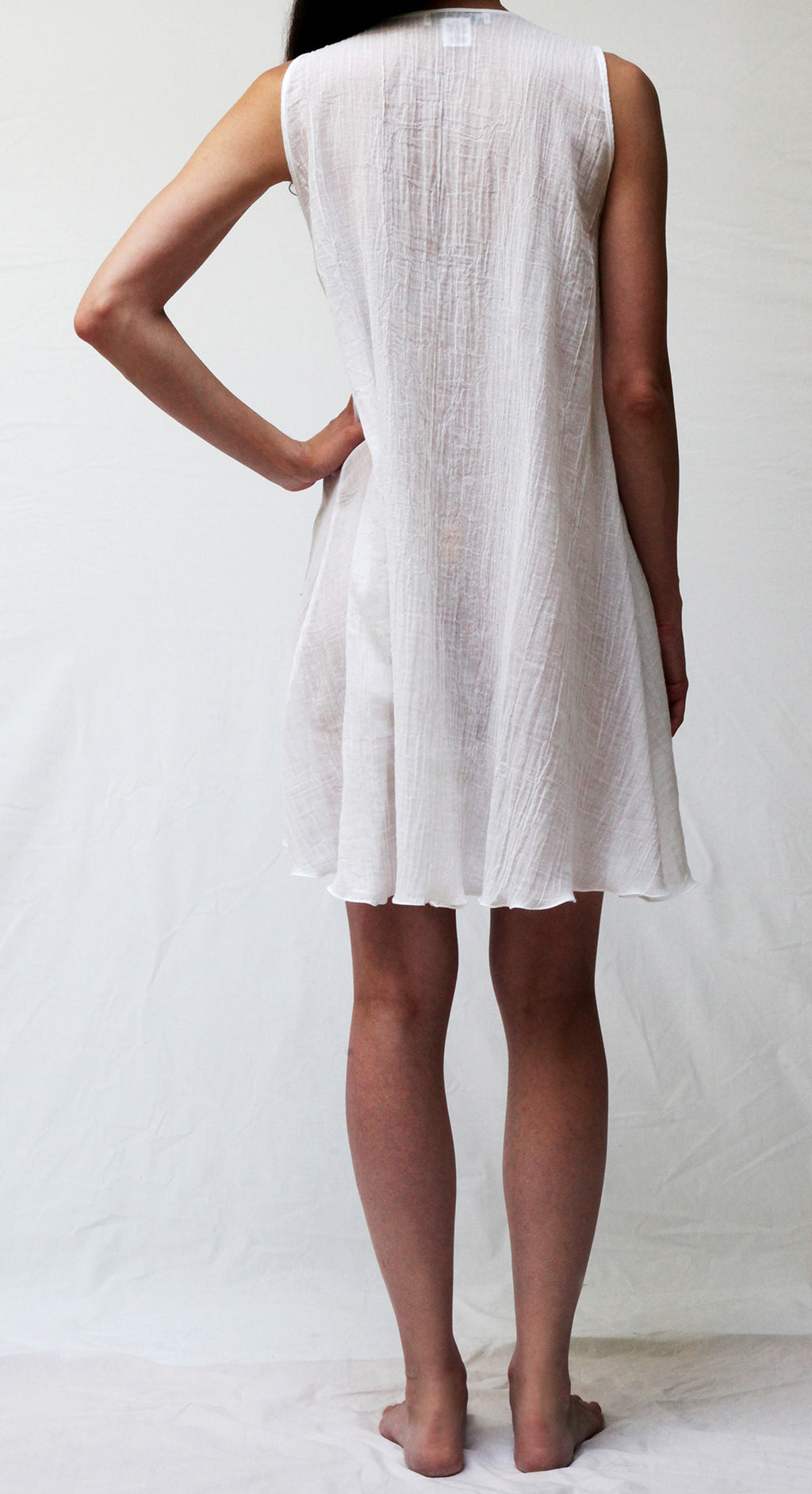 33666 Short sleeveless Gown  ** WHITE GAUZE BACK IN STOCK JULY 30th