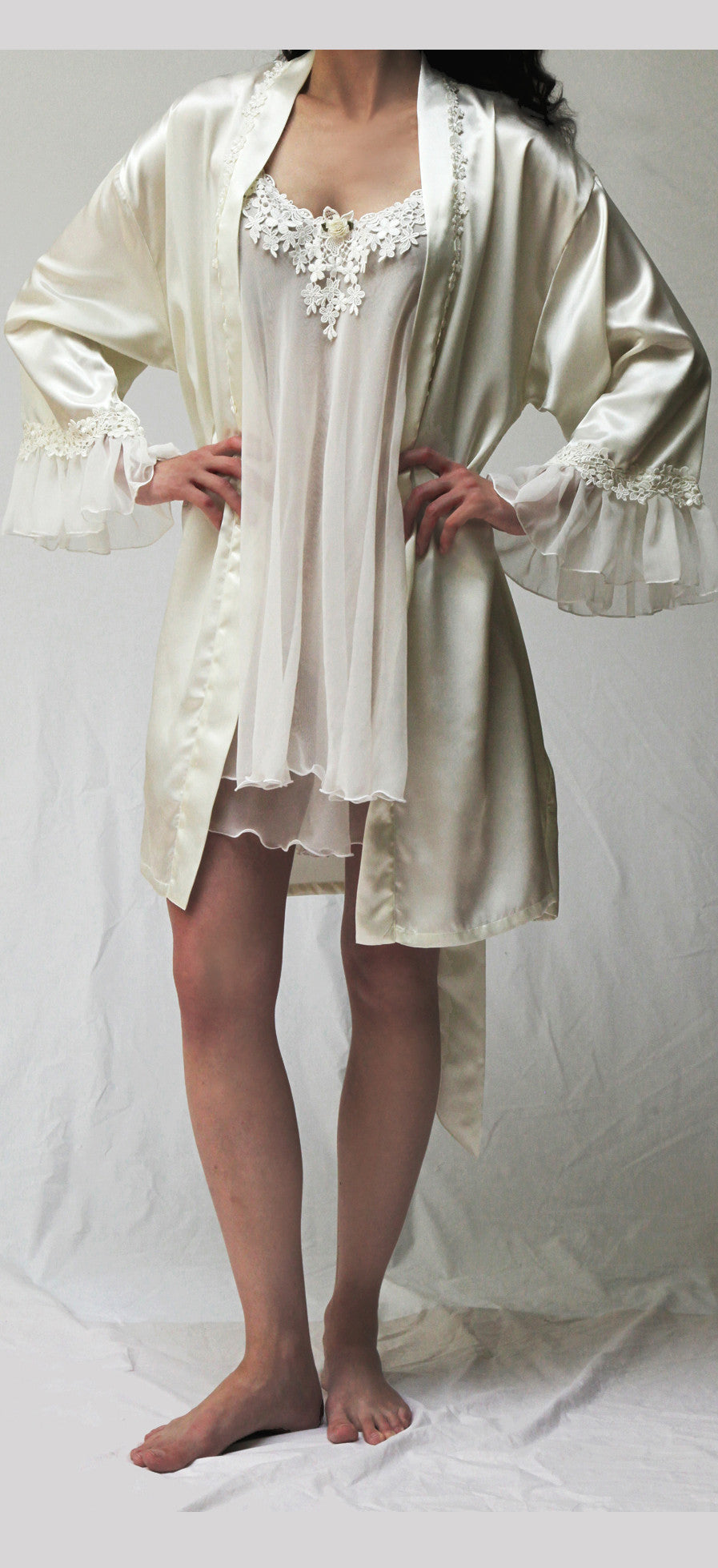 34020 Satin Short Kimono - ( Orchid color on sale)