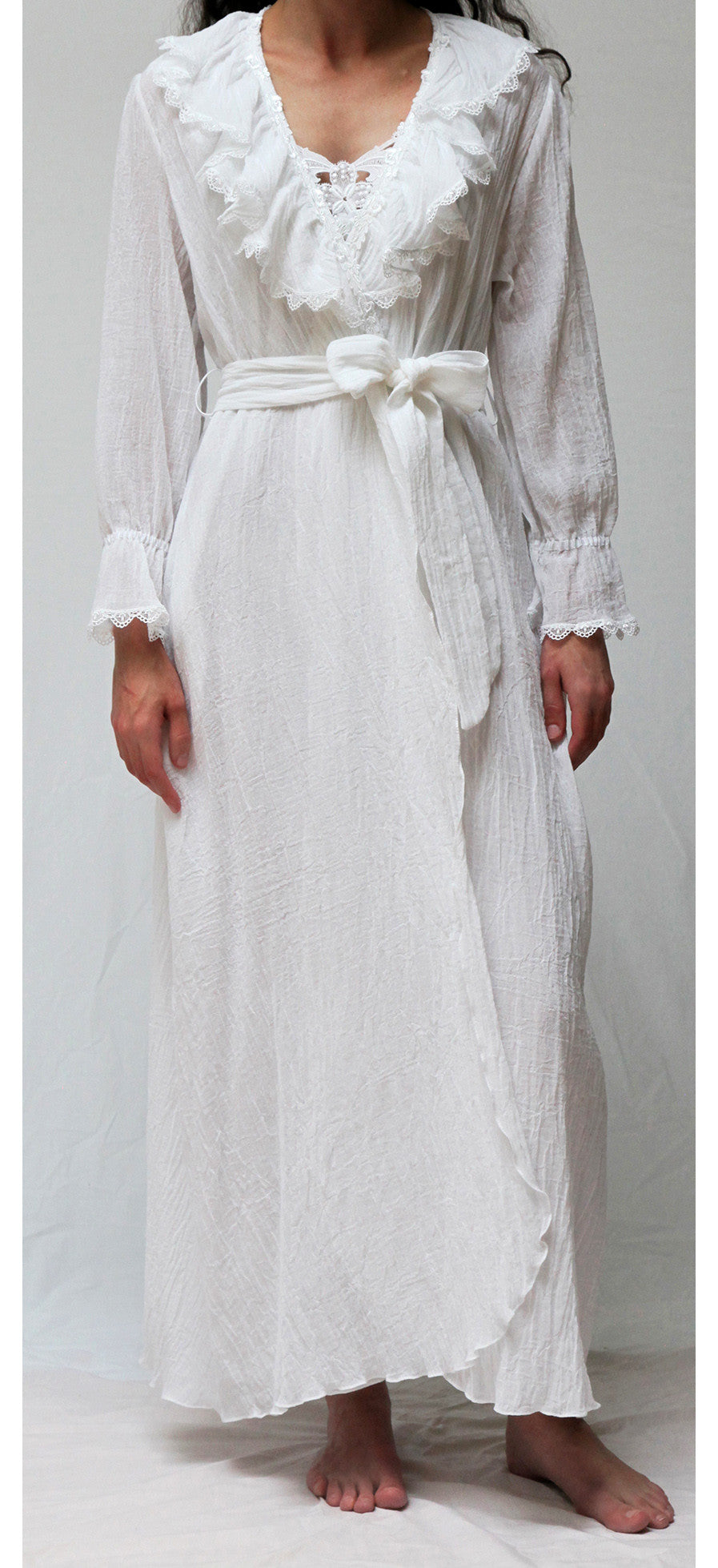 38000 Long Wrap Robe  ** WHITE GAUZE BACK IN STOCK JULY 30th