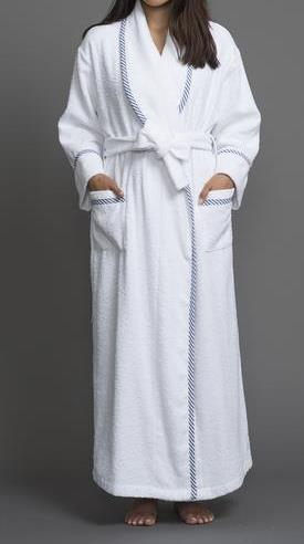 39200 Long Terry Robe with cotton stripes trim