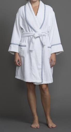 39205 Short Terry Robe with cotton stripes trim