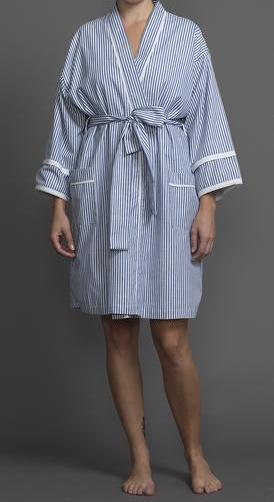 39206 Cotton Stripes Short Terry-Lined Kimono Robe
