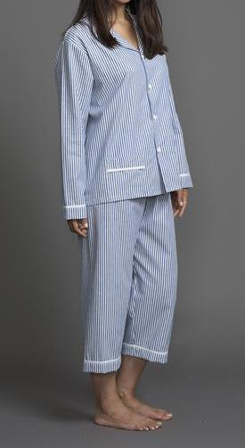 39210 Cotton Stripes PJ Top and Capri Pant Set