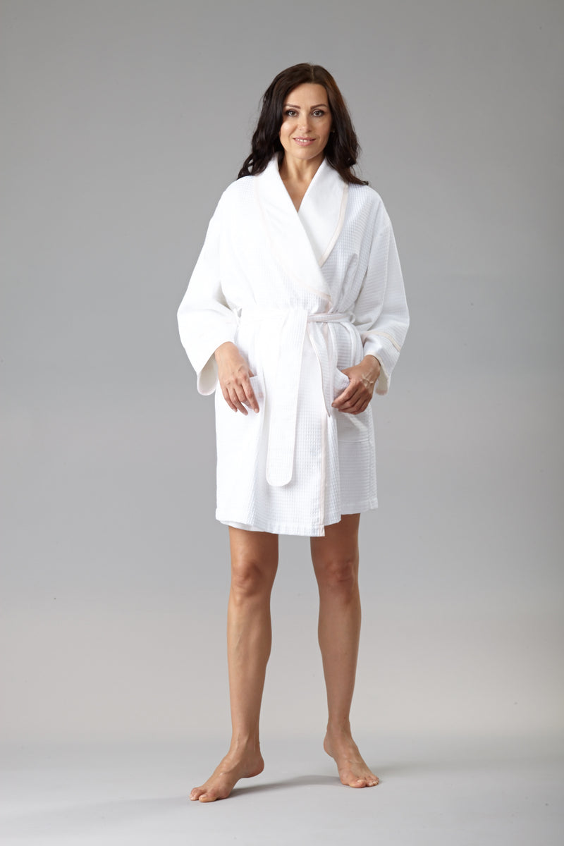 6054 Waffle robe lined with terry