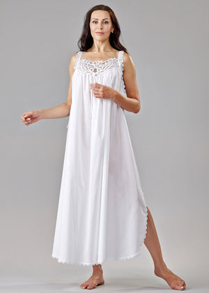 1204 Long gown with lace yoke