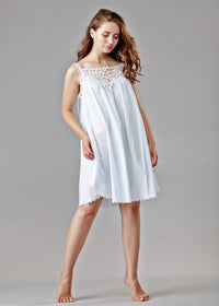 1203  Short gown with lace yoke