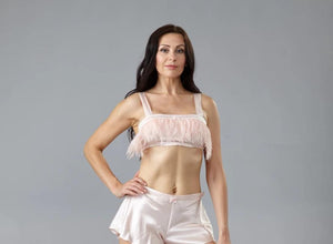 40350 Bralette, silk & feathers - Final sale- No returns