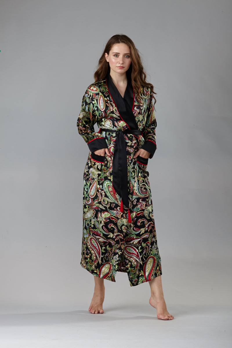 40302 Long shawl collared robe- Final sale- No returns