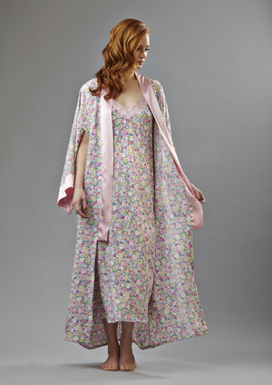 Silk flower print; Long Kimono  - Final sale- No returns