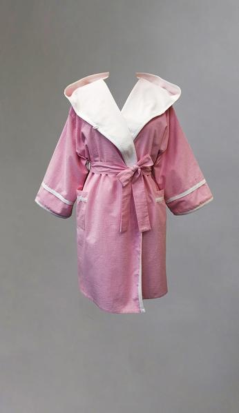 6026 Seersucker hooded robe,Terry lined - Yellow to Clear- 40% Pink & Navy & all sizes avail)