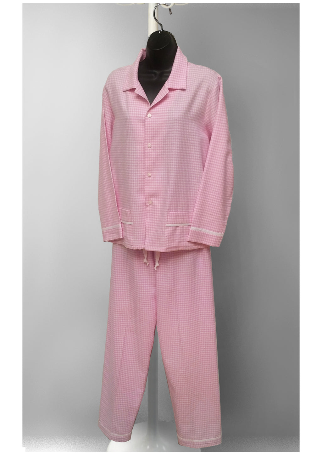 39905 Flannel printed classic PJ Set - (Pink checks SOLD-OUT) -final sale-no returns