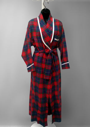 39901 Flannel Plaid & flower print Robe