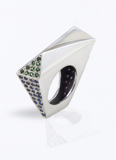 Two Faces with Stones Slim Ring