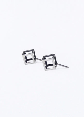 Silver small Box Earrings