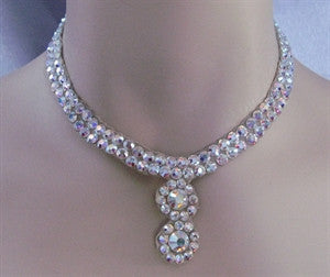 Ballroom necklace Swarovski Crystal Double Circle