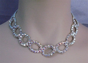 Ballroom Necklace Swarovski Crystal Open Oval