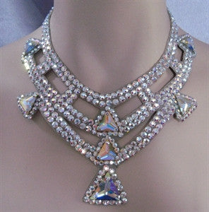 Triangle Swarovski Crystal Ballroom Necklace