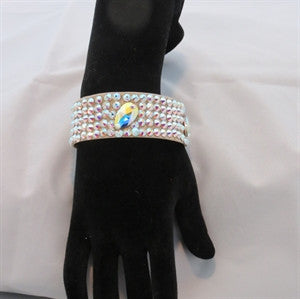 "Ballroom Bangle Bracelet 1"" wide with large crystals"