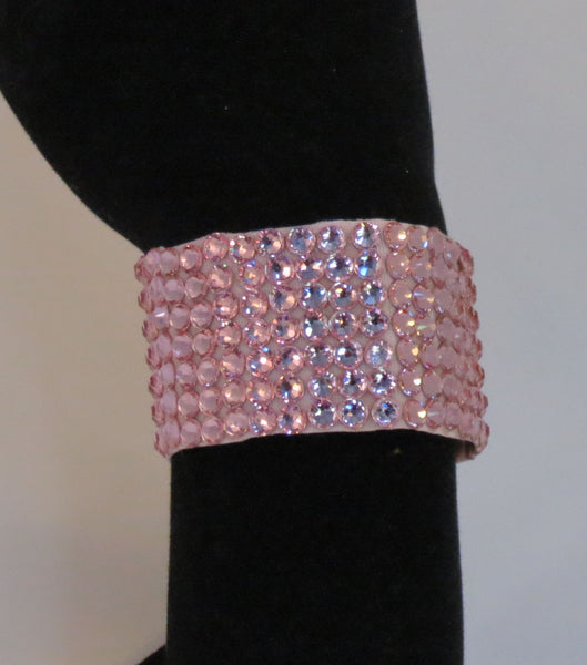 Swarovski Crystal 1½ inch wide Ballroom Bracelet Light Rose