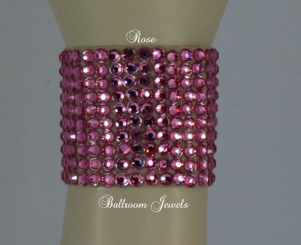 Swarovski Crystal 2 in wide Ballroom Bracelet Rose