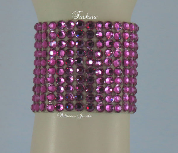 Swarovski Crystal 2 in wide Ballroom Bracelet in Fuchsia