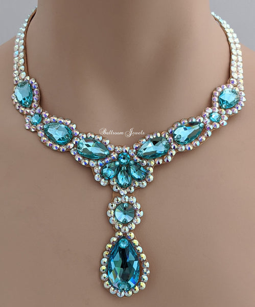 Ballroom Necklace Swarovski Pears and drop in Light Turquoise blue