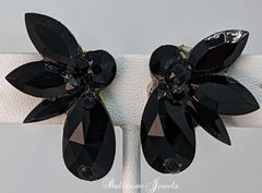 Pear Spray Swarovski earrings - Jet Black