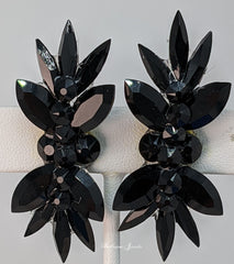Ballroom Earrings Top and Bottom Spray - Jet Black