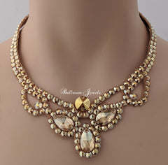 Three Pear Ballroom Necklace Swarovski Crystal Gold