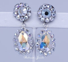 Ballroom Swarovski Crystal round and pear drop earring