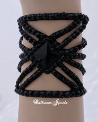 Ballroom Bracelet Jet black Square Crystal Spray design pattern