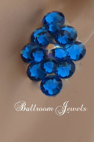 Ballroom Earrings multi crystal Capri blue