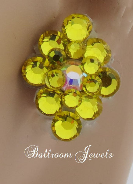 Ballroom Earrings multi crystal Citrine Yellow