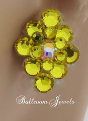 Ballroom Earrings multi crystal Citrine Yellow - Earrings - Ballroom Jewels