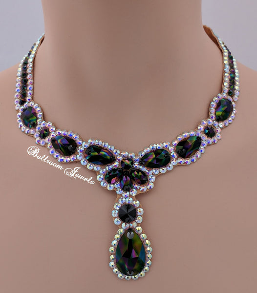 Ballroom Necklace Swarovski Pears and drop in Rainbow Jet black