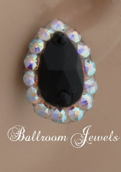 Swarovski pear crystal ballroom earrings - Jet black