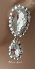 Ballroom Swarovski clear crystal large and medium pear dangle earring