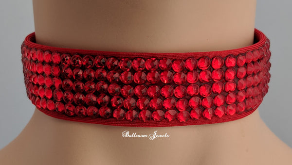 Swarovski Crystal Ballroom Choker 1 inch - Light Siam Red