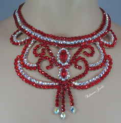 Ballroom Light Siam Swirl Necklace - Swarovski Necklace - Ballroom Jewels