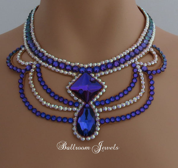 Ballroom Square and Pear Heliotrope purple necklace