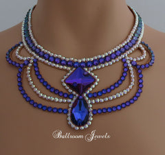 Ballroom Square and Pear Heliotrope purple necklace - Swarovski Necklace - Ballroom Jewels