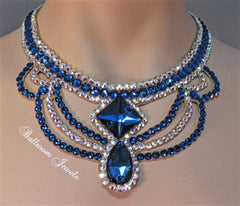 Ballroom Square and Pear Blue necklace - Swarovski Necklace - Ballroom Jewels