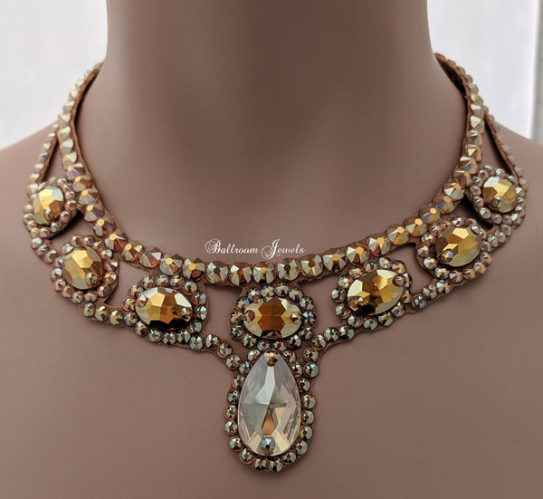 Pear and Oval  Ballroom Necklace - gold