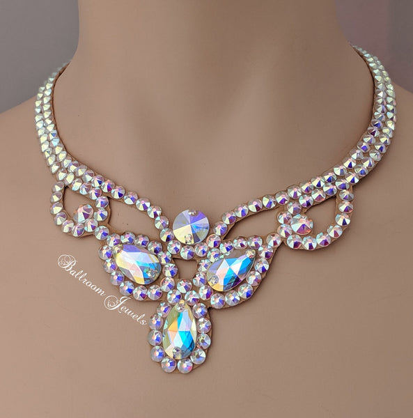 Three Pear Ballroom Necklace Swarovski Crystal